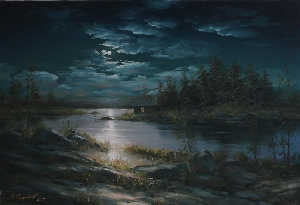 """Lake at night"" original fine art by Stig Rosenlund"