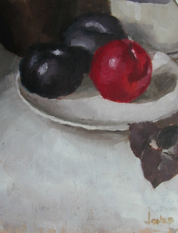 """The Red Plum"" original fine art by Richard Jones"
