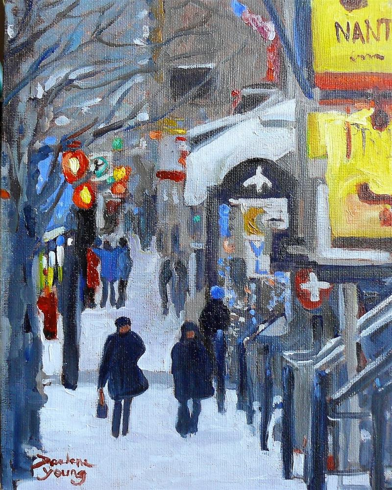 """966 Crescent Street, Montreal Night Scene, 8x10, oil"" original fine art by Darlene Young"