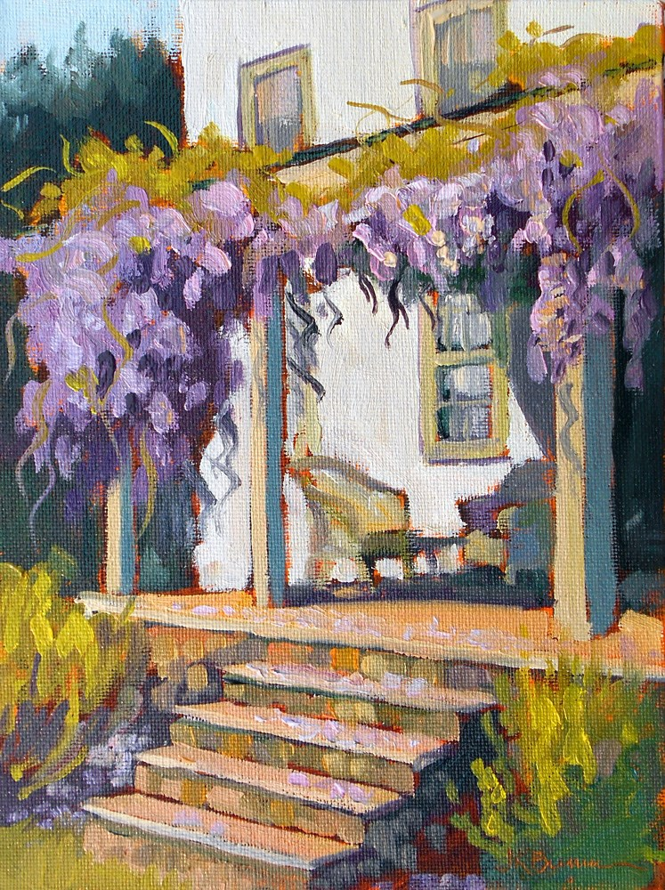 """Wisteria Welcome"" original fine art by Jeanne Bruneau"