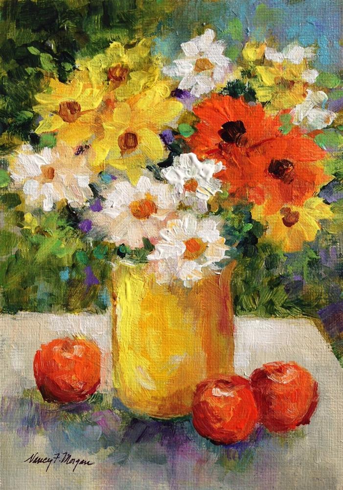 """Daisies in yellow Vase"" original fine art by Nancy F. Morgan"