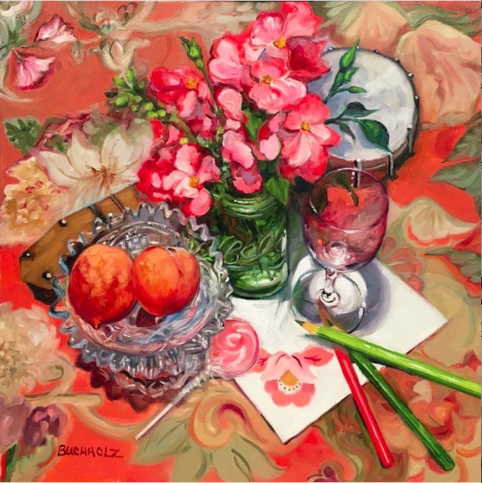 """Arrangement in Vermillion and Green"" original fine art by Terri Buchholz"