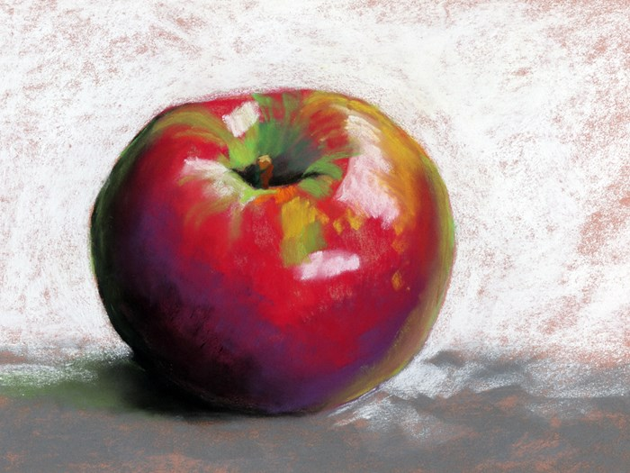 """limited palette apple and video"" original fine art by Ria Hills"