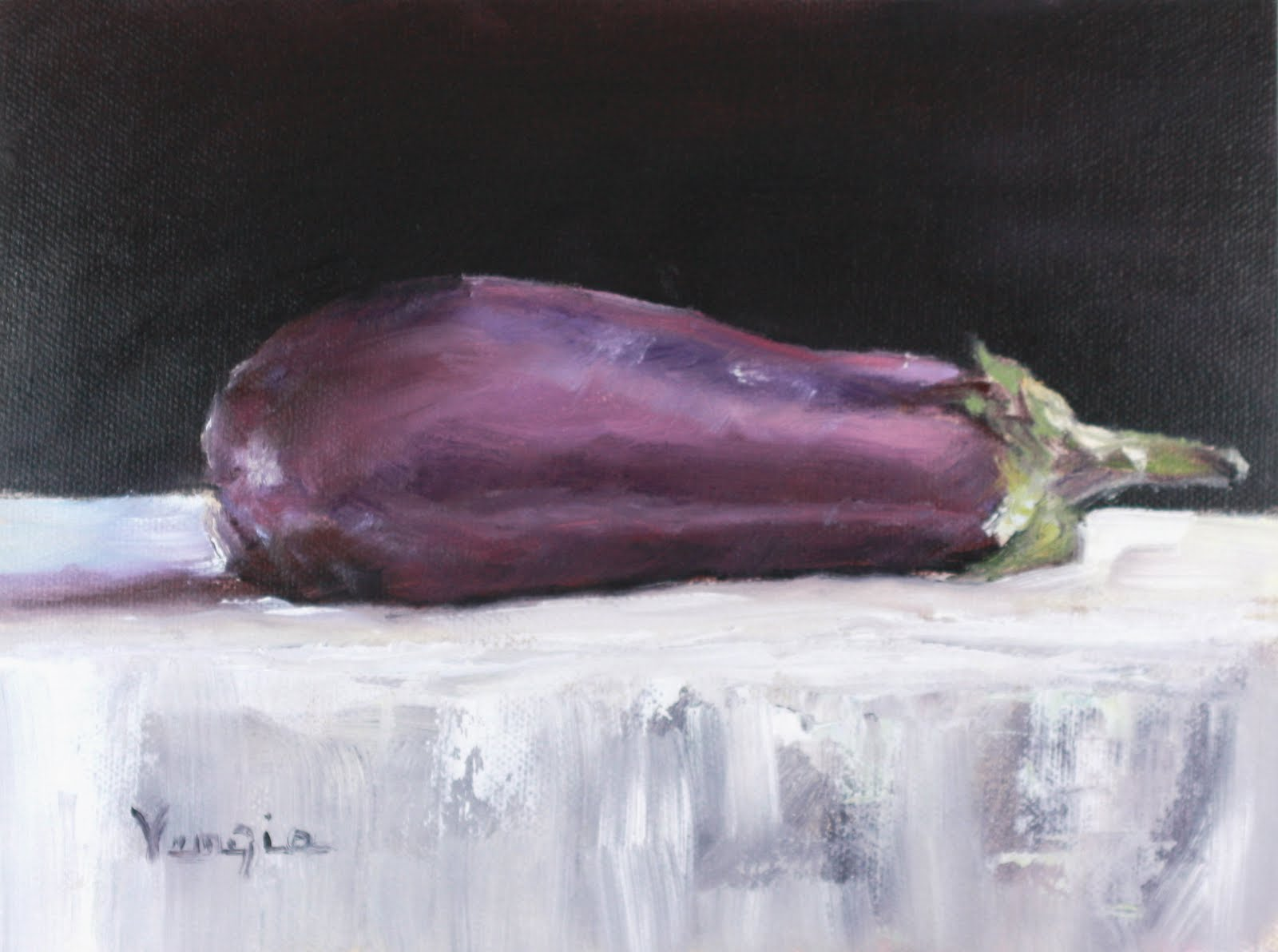 """oil painting still life with eggplant"" original fine art by Carrie Venezia"