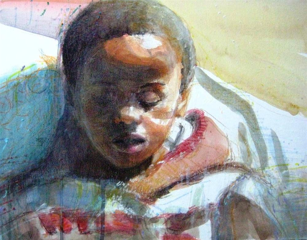 """Kids, Life Art and Stuff 17 (Day Dreaming)"" original fine art by Adebanji Alade"