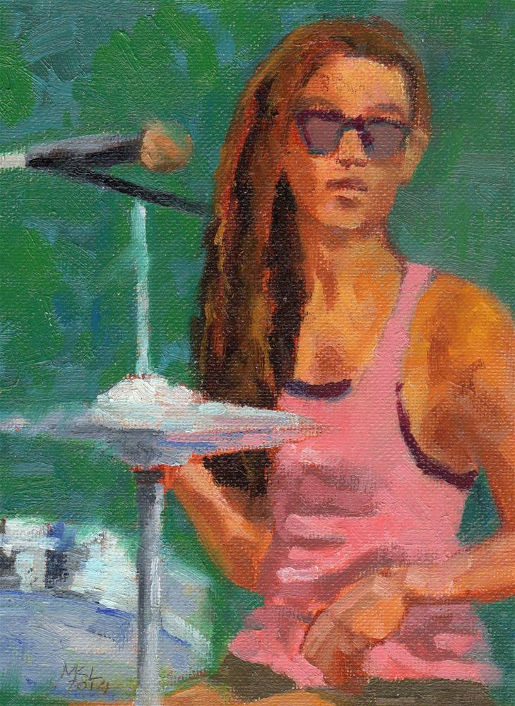 """Drummer Girl"" original fine art by Marlene Lee"