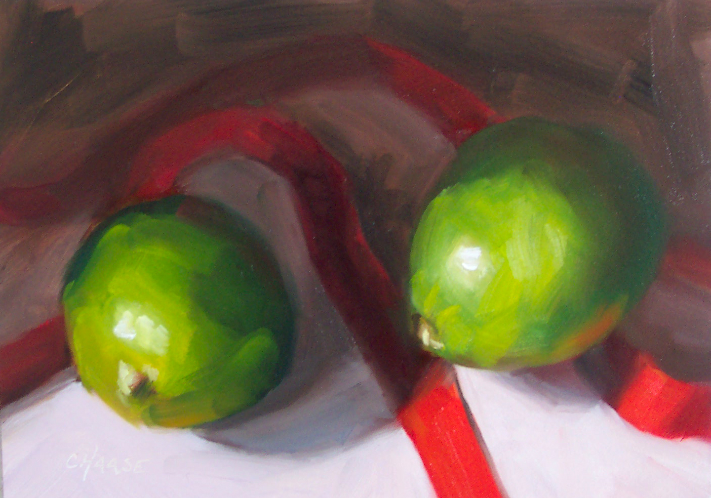 """Limes, Ribbons, and Shadows"" original fine art by Cindy Haase"