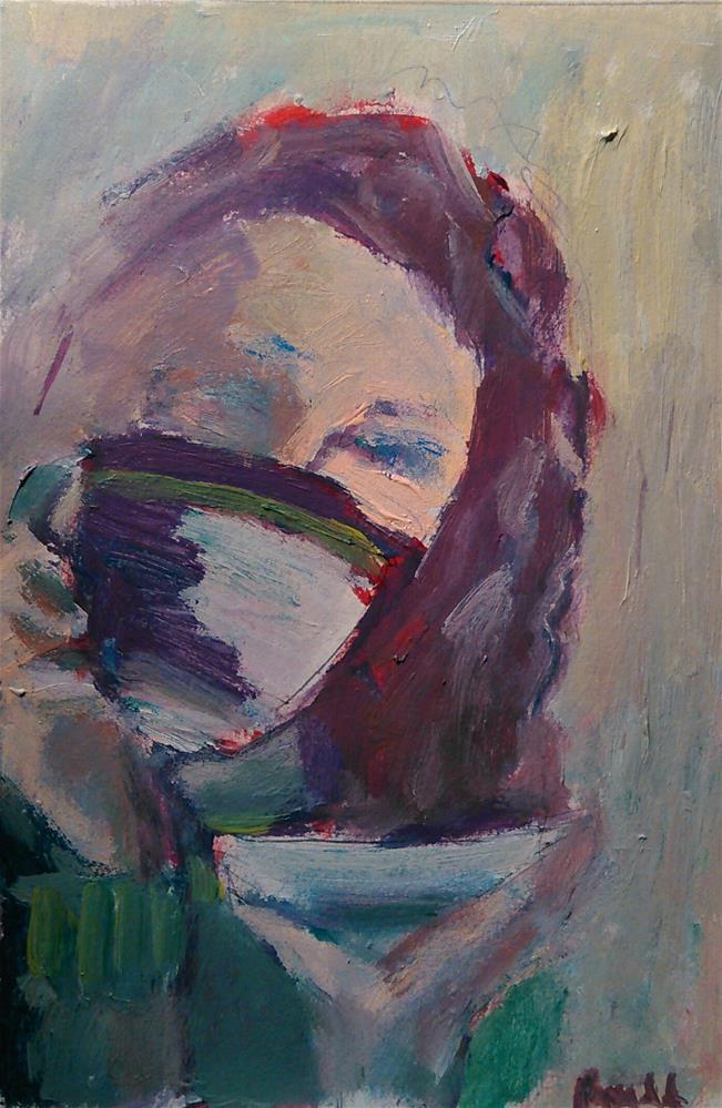"""Large Coffee"" original fine art by Ann Rudd"