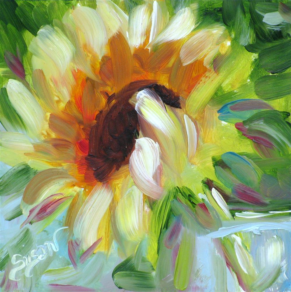 """Morning Sunflower"" original fine art by Susan Elizabeth Jones"
