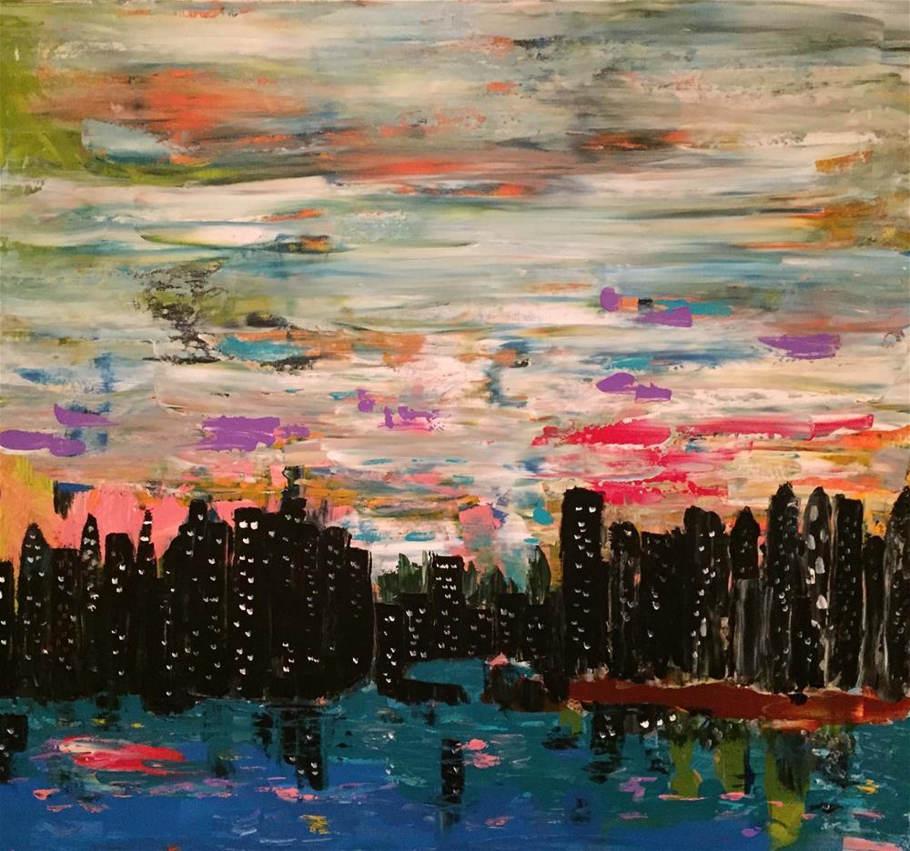 """After Dark In The City"" original fine art by Yvonne Snead"
