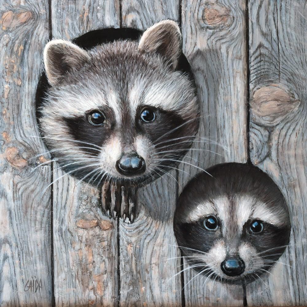 """Raccoons"" original fine art by Arthur Gaida"