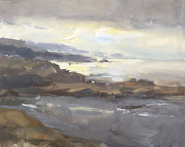 """Seascape California 10"" original fine art by Roos Schuring"