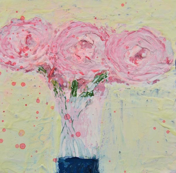 """Pink cottage chic floral art No 104"" original fine art by Katie Jeanne Wood"