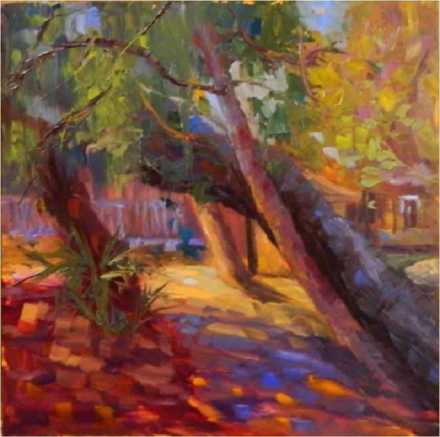 """Diagonal Trees, Myakka State Park, plein air, 12x12, oil on board"" original fine art by Maryanne Jacobsen"