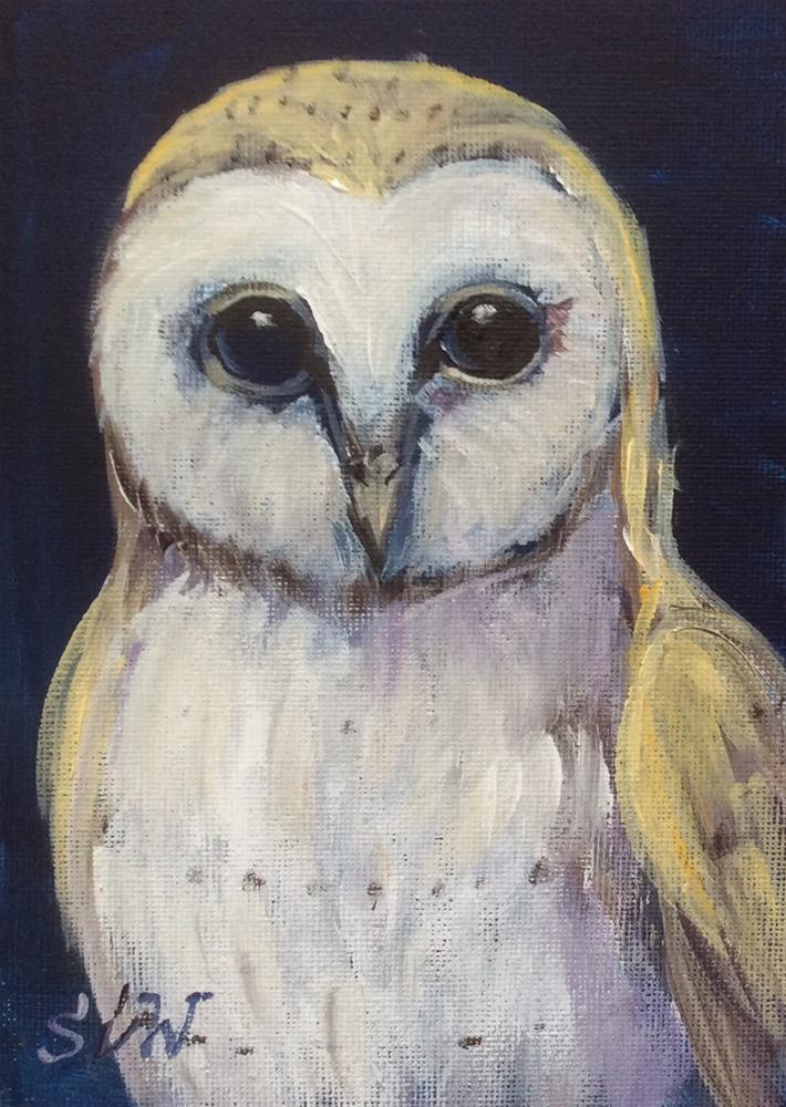 """Barn owl painting"" original fine art by Sonia von Walter"