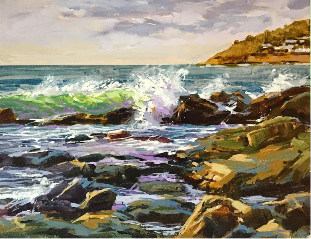 """Rocks and waves"" original fine art by Haidee-Jo Summers"
