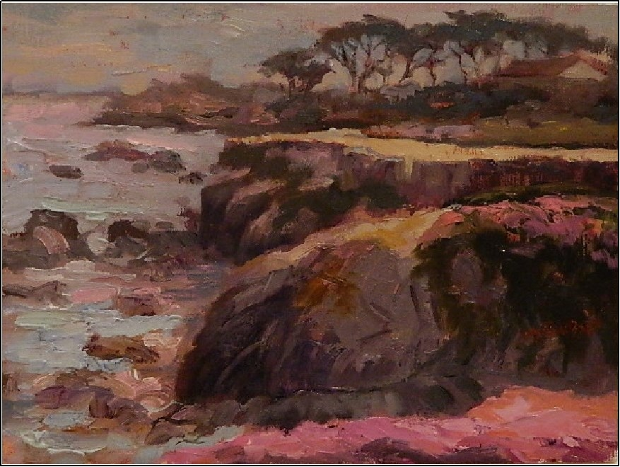 """May Grey, Pacific Grove, 12x9, oil on panel, California coastal landscape by Maryanne Jacobsen"" original fine art by Maryanne Jacobsen"