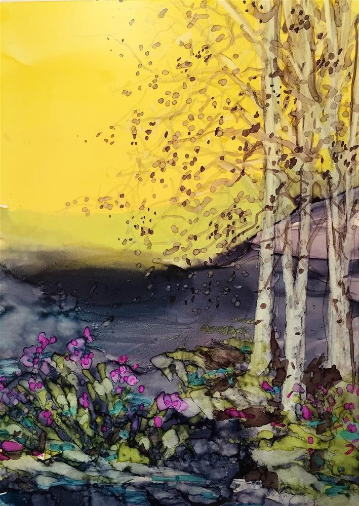 """Sunny Morning Aspens"" original fine art by Kelly Alge"