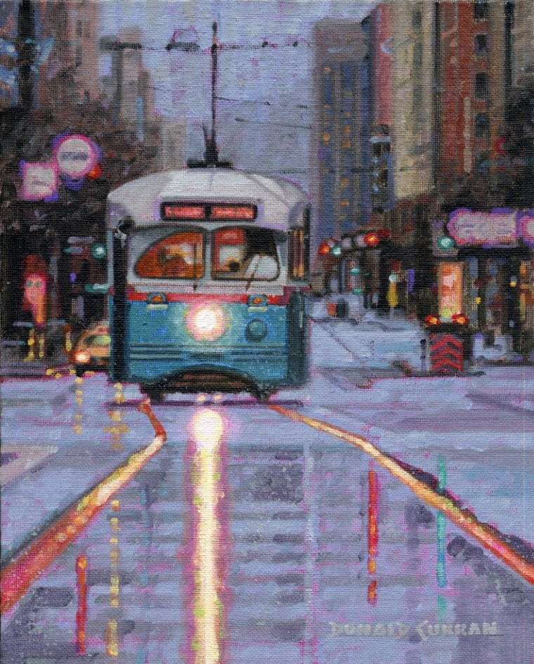 """San Francisco Trolley"" original fine art by Donald Curran"