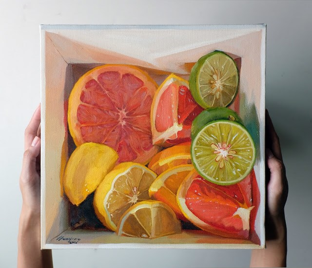 """Citrus Medley in a box V"" original fine art by Haze Long"