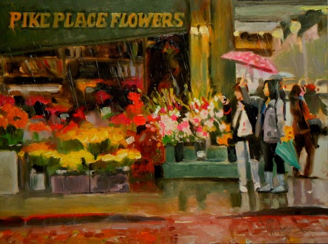 """Pike Place Flowers  Seattle cityscape, oil painting"" original fine art by Robin Weiss"