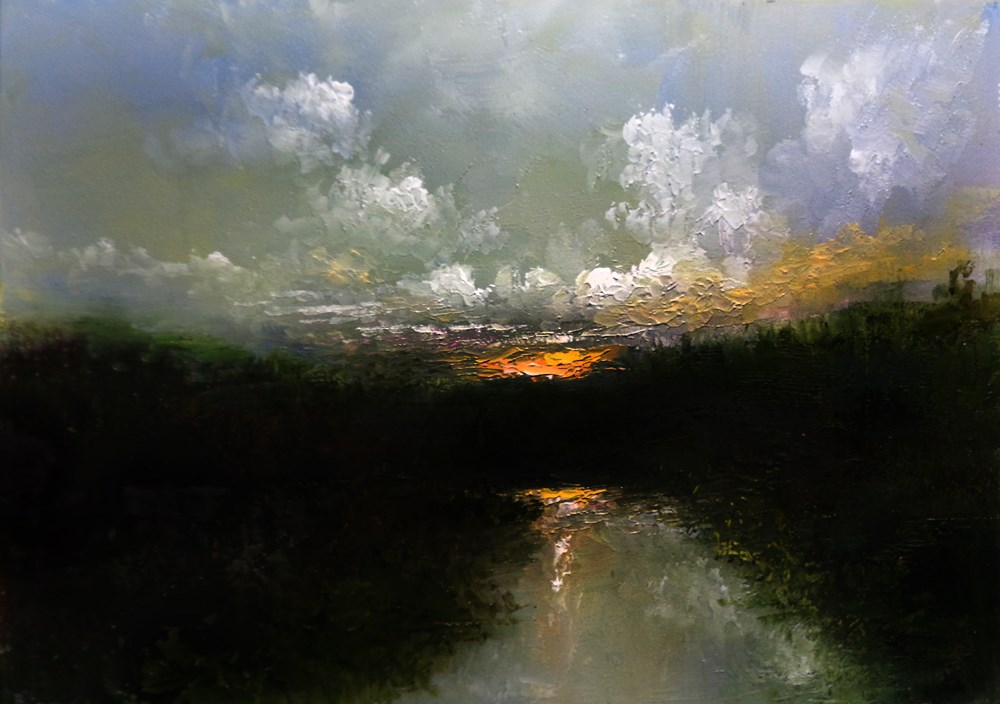 """Wetlands Sunset"" original fine art by Bob Kimball"