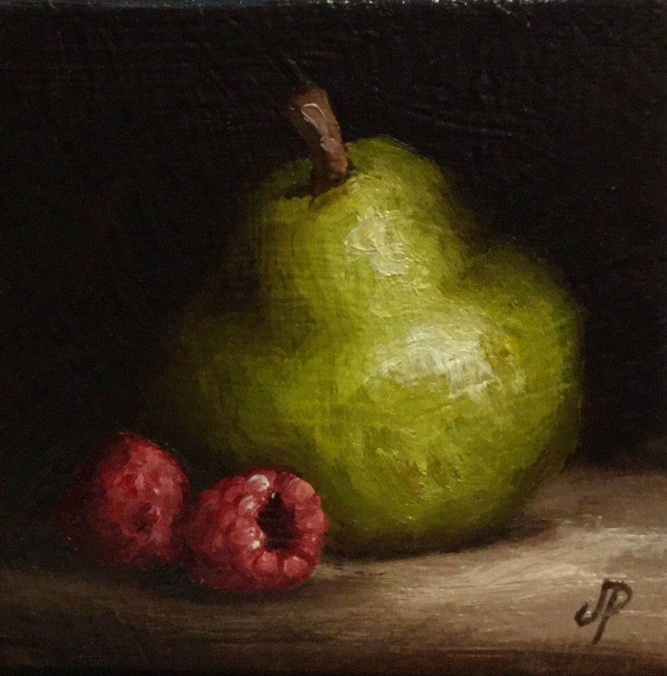 """Little Pear and raspberries"" original fine art by Jane Palmer"