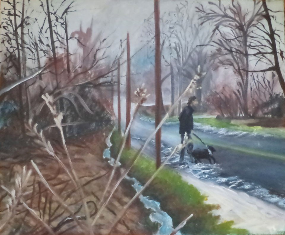 """Man Walking His Dog"" original fine art by tara stephanos"