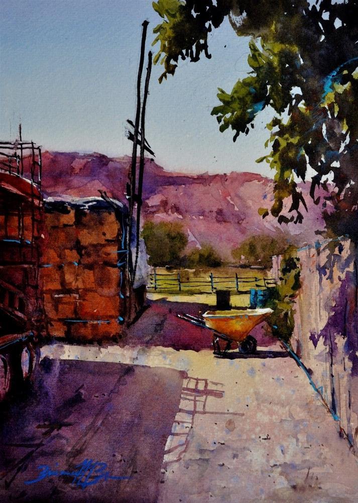 """Yellow Wheelbarrow"" original fine art by Brienne M Brown"