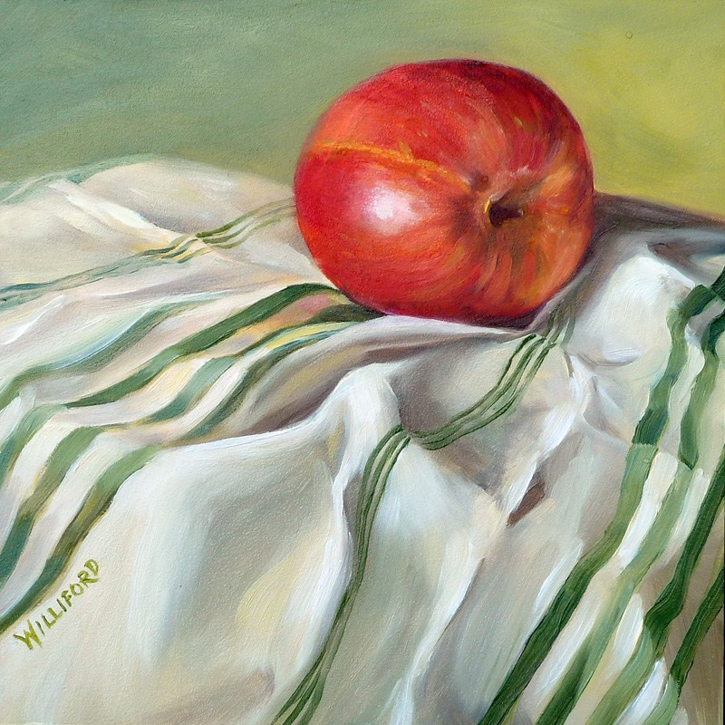 """Apple with Green Stripes"" original fine art by Kathleen Williford"