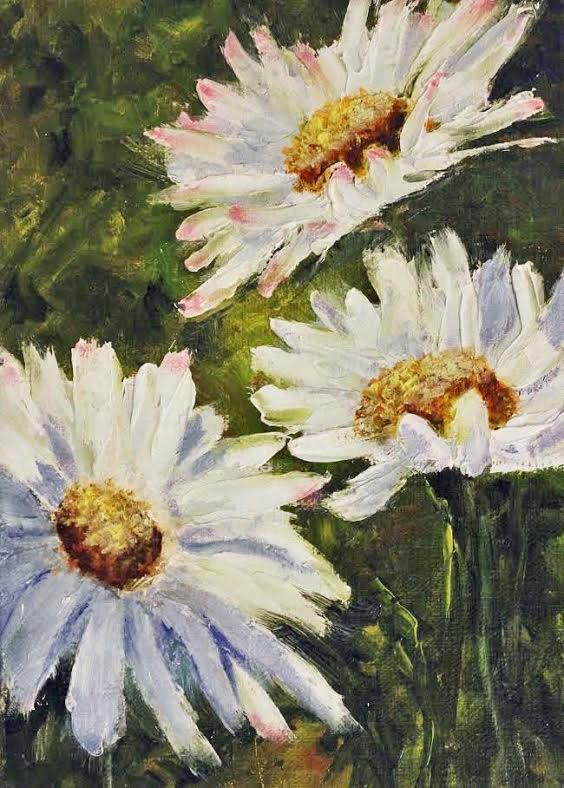 """""""Tres Daisies"""" original fine art by Barbara Janecka"""