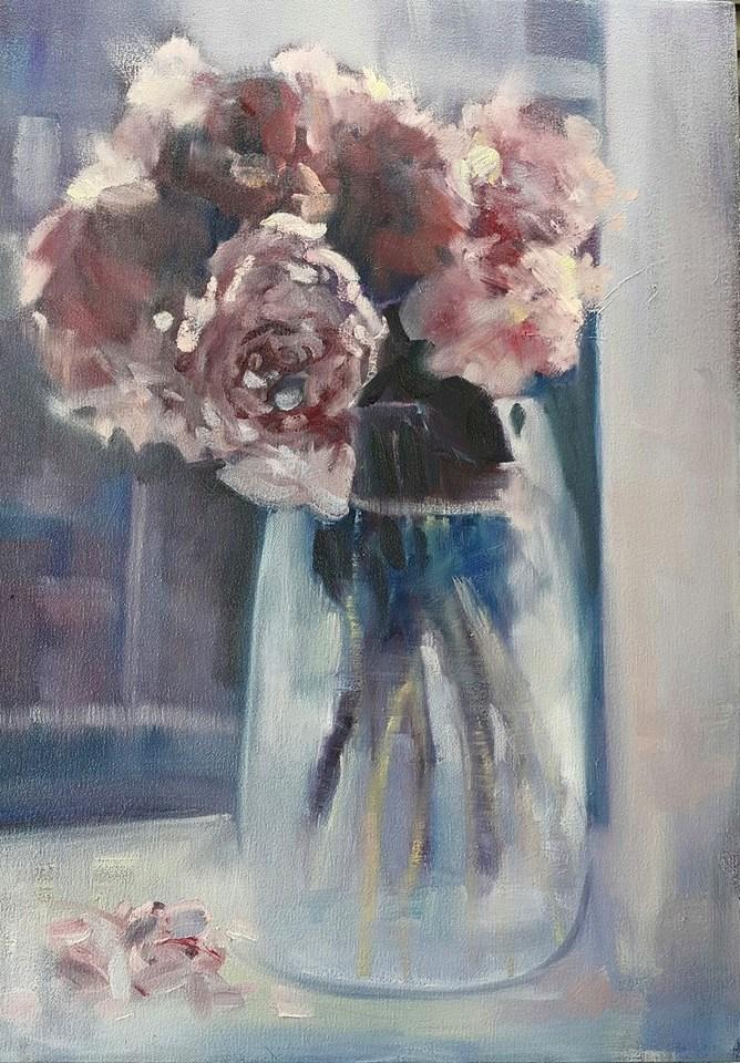 """Window peonies"" original fine art by Rentia Coetzee"