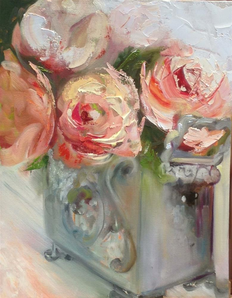"""Blushing Roses"" original fine art by Ronel Alberts"