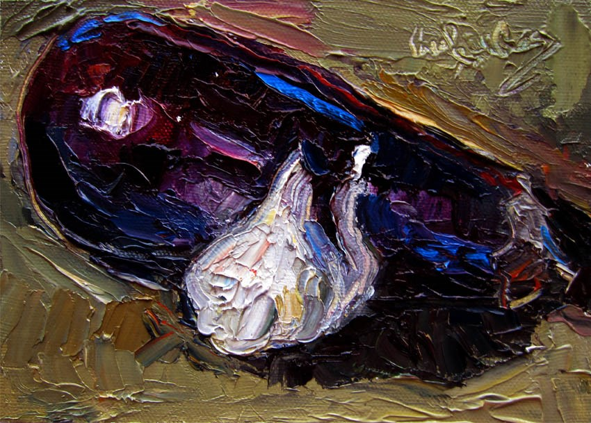 """Garlic, Eggplant"" original fine art by Carol Steinberg"