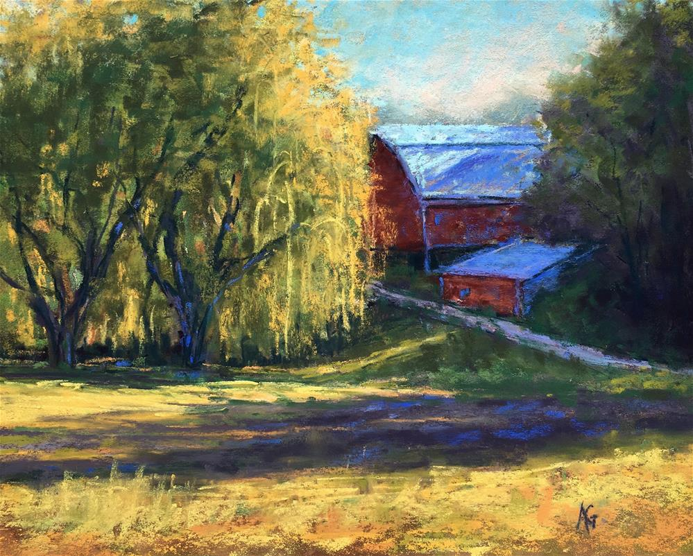 """Weeping by the barn"" original fine art by Alejandra Gos"