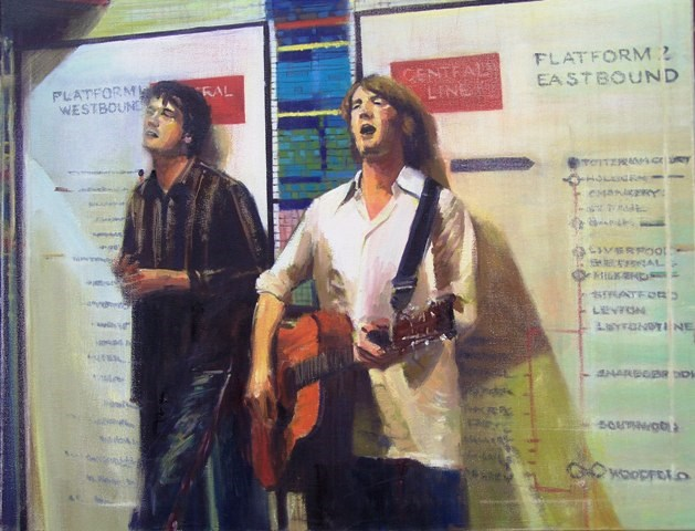 """Buskers at Tottenham Court Road Station"" original fine art by Adebanji Alade"