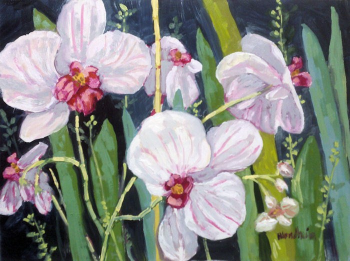 """Striped Orchids"" original fine art by Linda Blondheim"