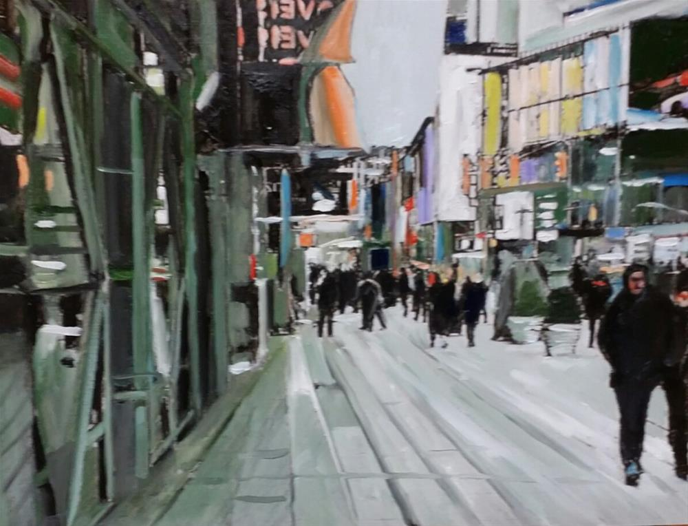"""The Business District (12 x 16 Oil on canvas paper - no frame)"" original fine art by Ramon DelRosario"