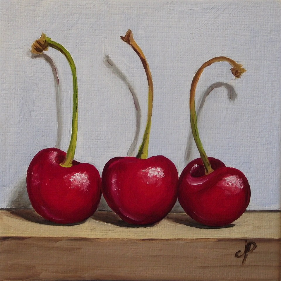 """Cherry trio"" original fine art by Jane Palmer"