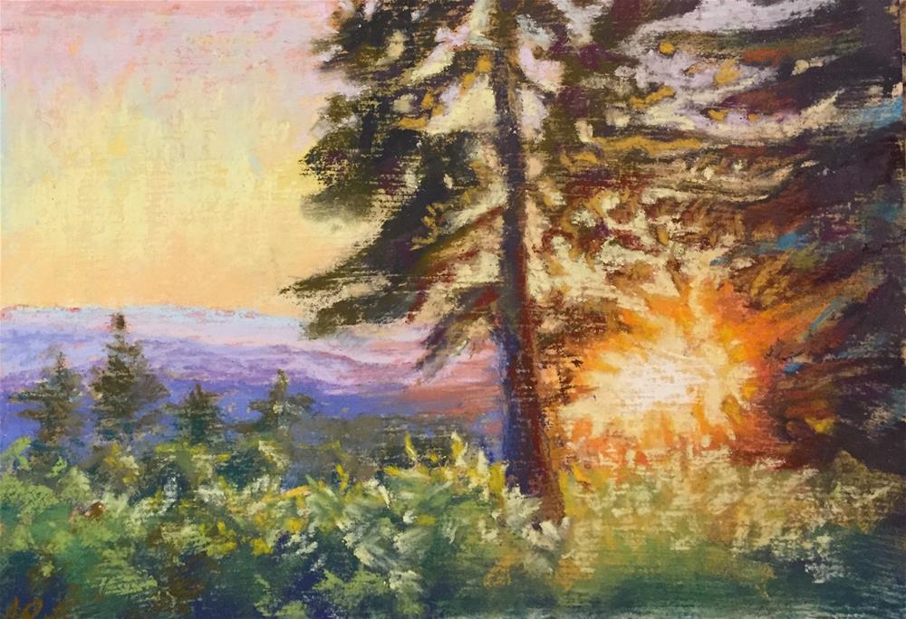 """Sunset from a deck"" original fine art by Natasha Ramras"