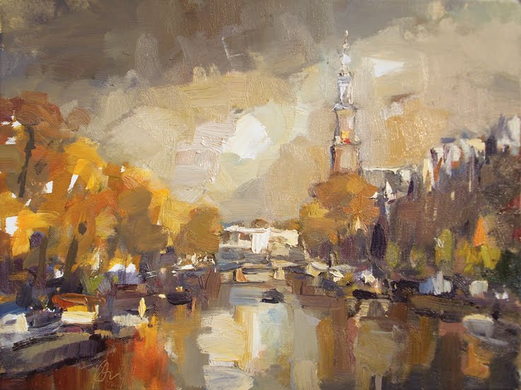 """Amsterdam in autumn III /Westertoren"" original fine art by Roos Schuring"