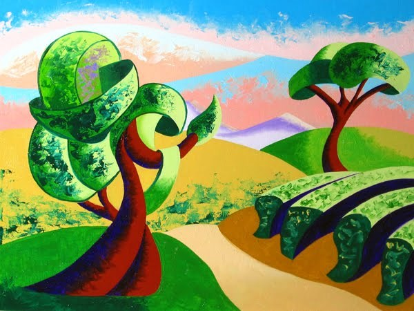 """Mark Webster - Abstract Geometric Tuscan Vineyard Landscape Oil Painting"" original fine art by Mark Webster"