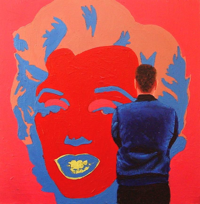 """Pink Marilyn- Painting Of Man Enjoying Painting Of Marilyn Monroe By Andy Warhol"" original fine art by Gerard Boersma"