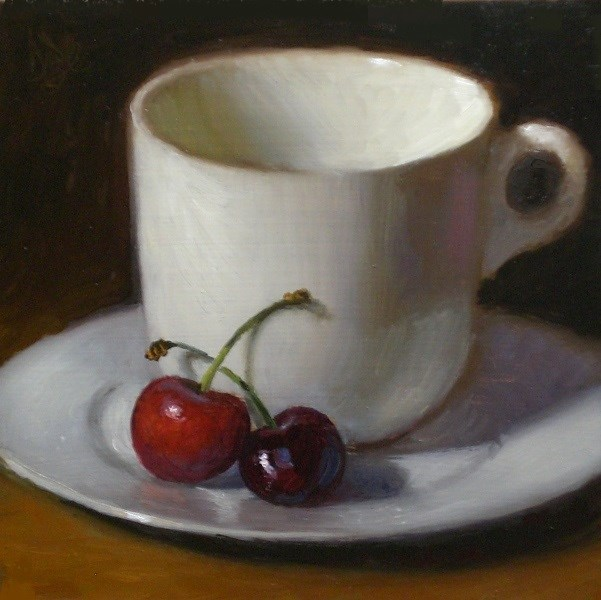 """Two Cherries and Cup"" original fine art by Debra Becks Cooper"