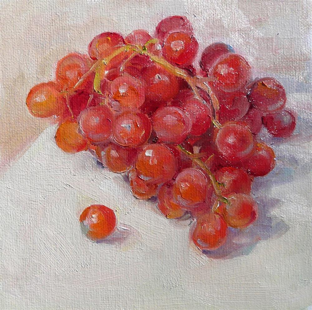 """Light Red Grapes,still life,oil on canvas,8x8,price$250"" original fine art by Joy Olney"