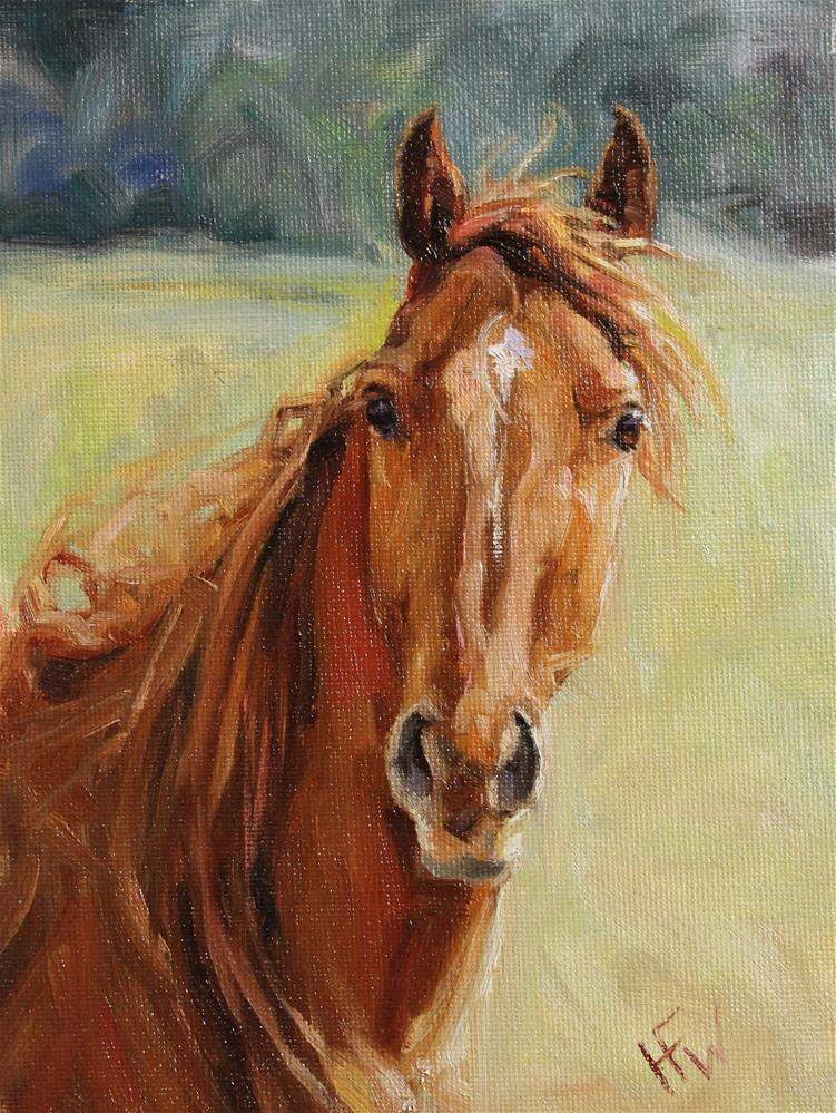 """Red Thoroughbred"" original fine art by H.F. Wallen"