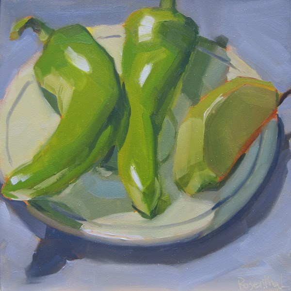 """Cubanelle Peppers and Apple Slice"" original fine art by Robin Rosenthal"