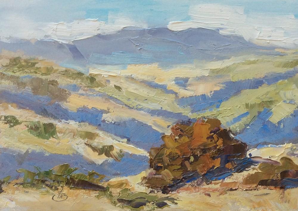"""CALIFORNIA HILLS & OAK TREES"" original fine art by Tom Brown"