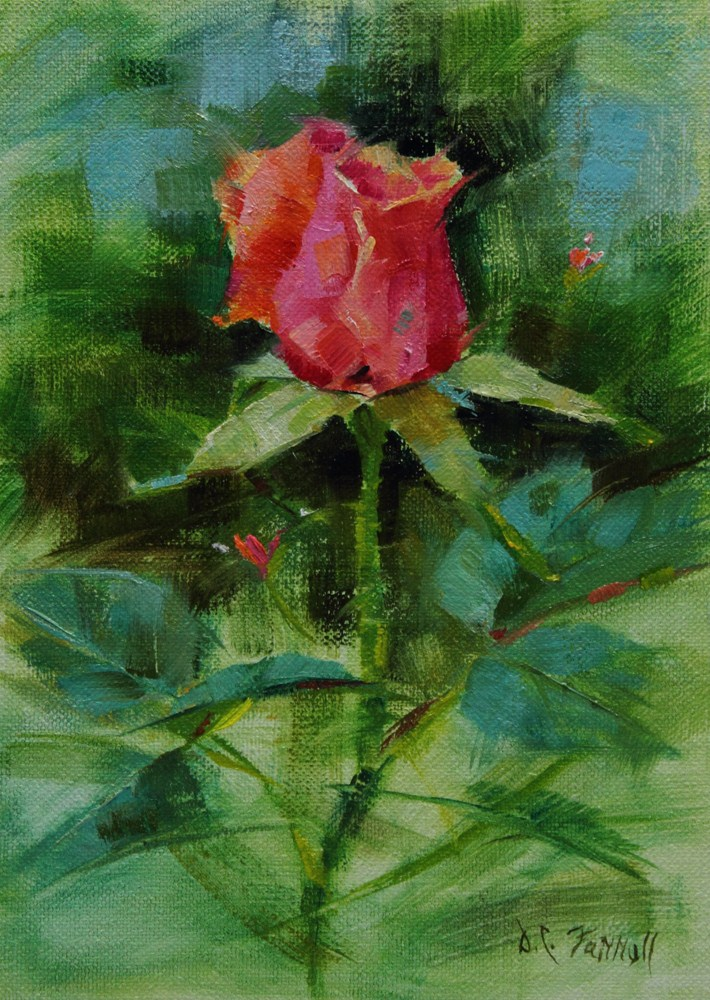 """Pink Rose Bud"" original fine art by Donna C Farrell"