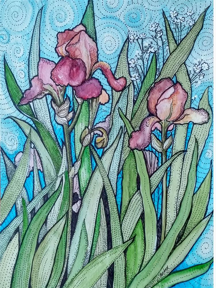 """Irises"" original fine art by Sharleen Hargreaves"